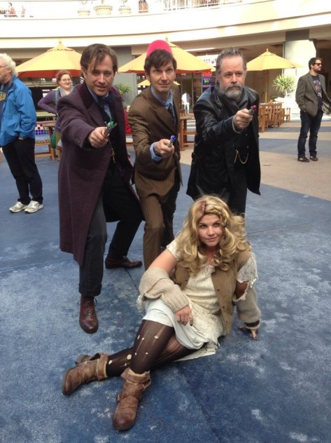 Cosplayers: Dawn Dove Wyatt Rose, Garth Bauman, David Rose and Guy Jackson Characters: The Moment, Eleventh Doctor, War Doctor and Tenth Doctor Photographer: Bino Gopal
