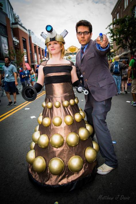 Cosplayers: Galliplay: The Cosplay of Heather and Stephan Reese Characters: Tenth Doctor and Dalek Photo by: Matthew J Davis Photography Location: San Diego Comic Con