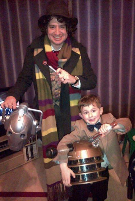 Cosplayers: Lee Miller and Ethan Miller Characters: Eleventh Doctor and Fourth Doctor  'Father and son, defending the Galaxy'.