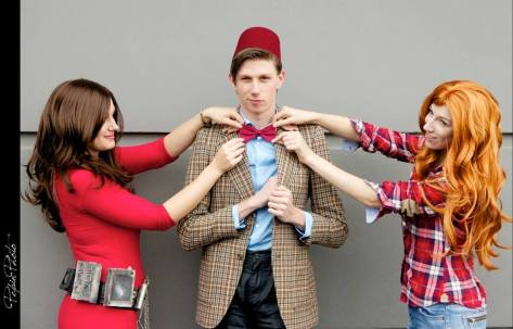 Cosplayers: Evangelyne Cosplay, Amy Ookami and Anthony Smith Characters: Eleventh Doctor, Amy pond and Oswin Oswald Photo: Pepin Photo